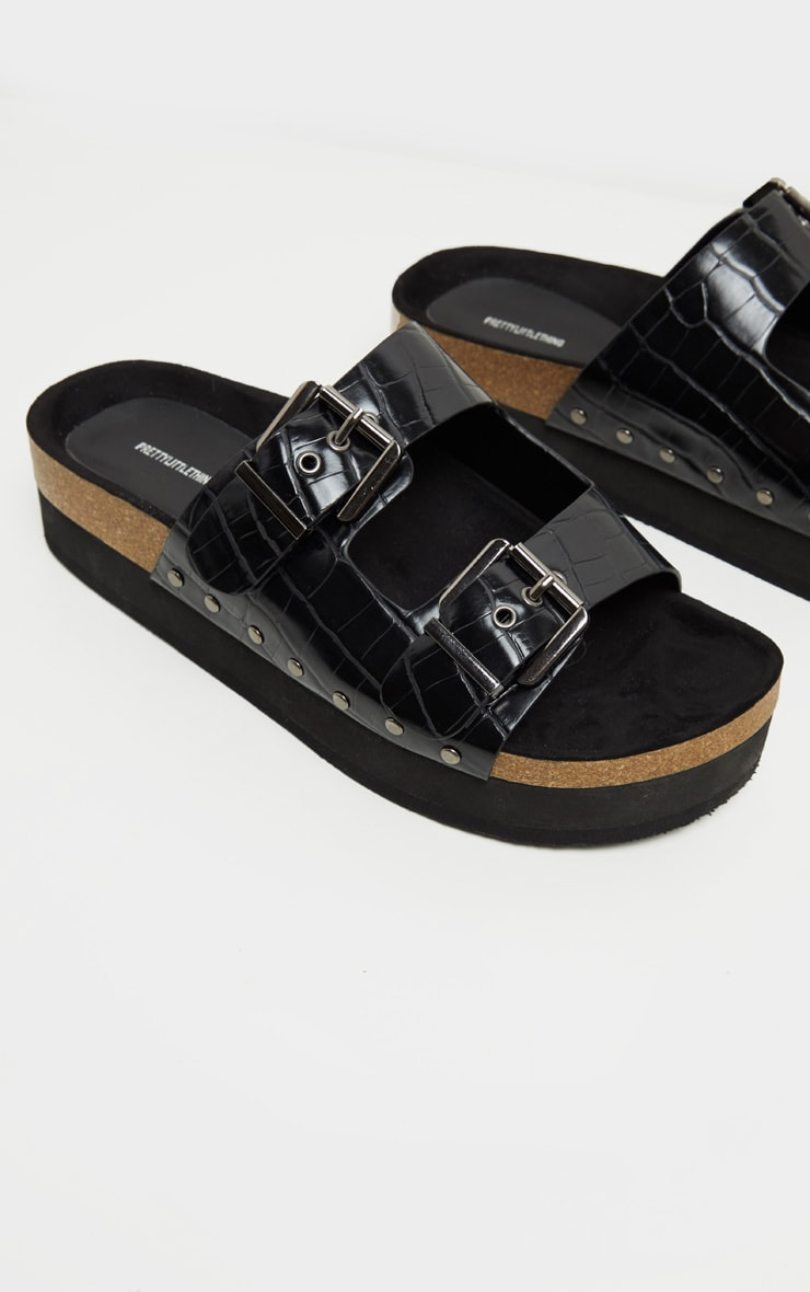 Black Flatform Studded Double Buckle Mule Slides 4