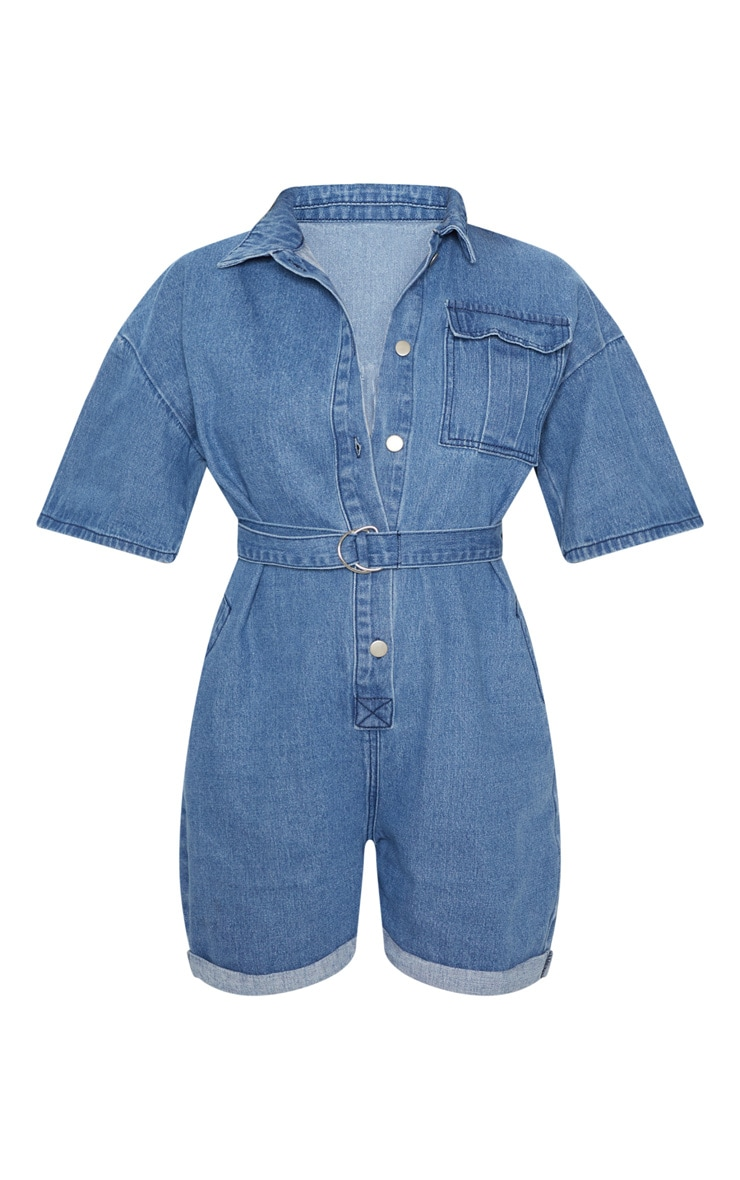 Light Wash Shorts Denim Romper 3