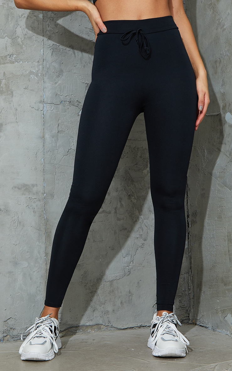 Black Tie Front Super High Waist Sports Leggings 2