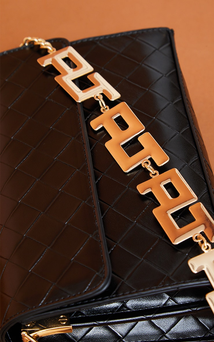 PRETTYLITTLETHING Black Weave Crossbody Bag 2