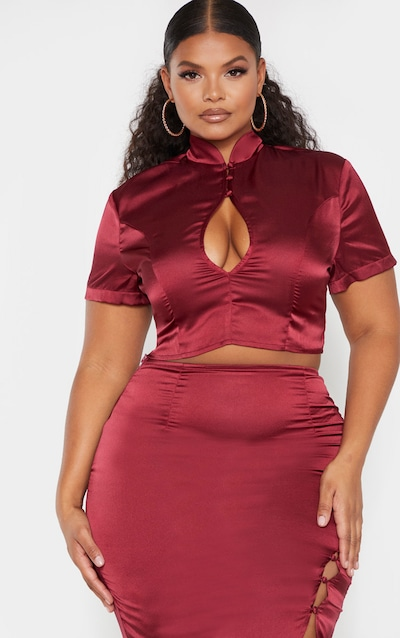 Plus Burgundy Cut Out Crop Top