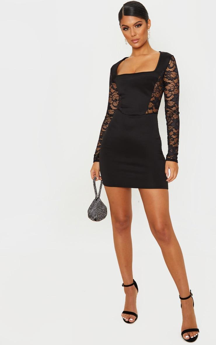 Black Lace Sleeve Insert Square Neck Bodycon Dress 4