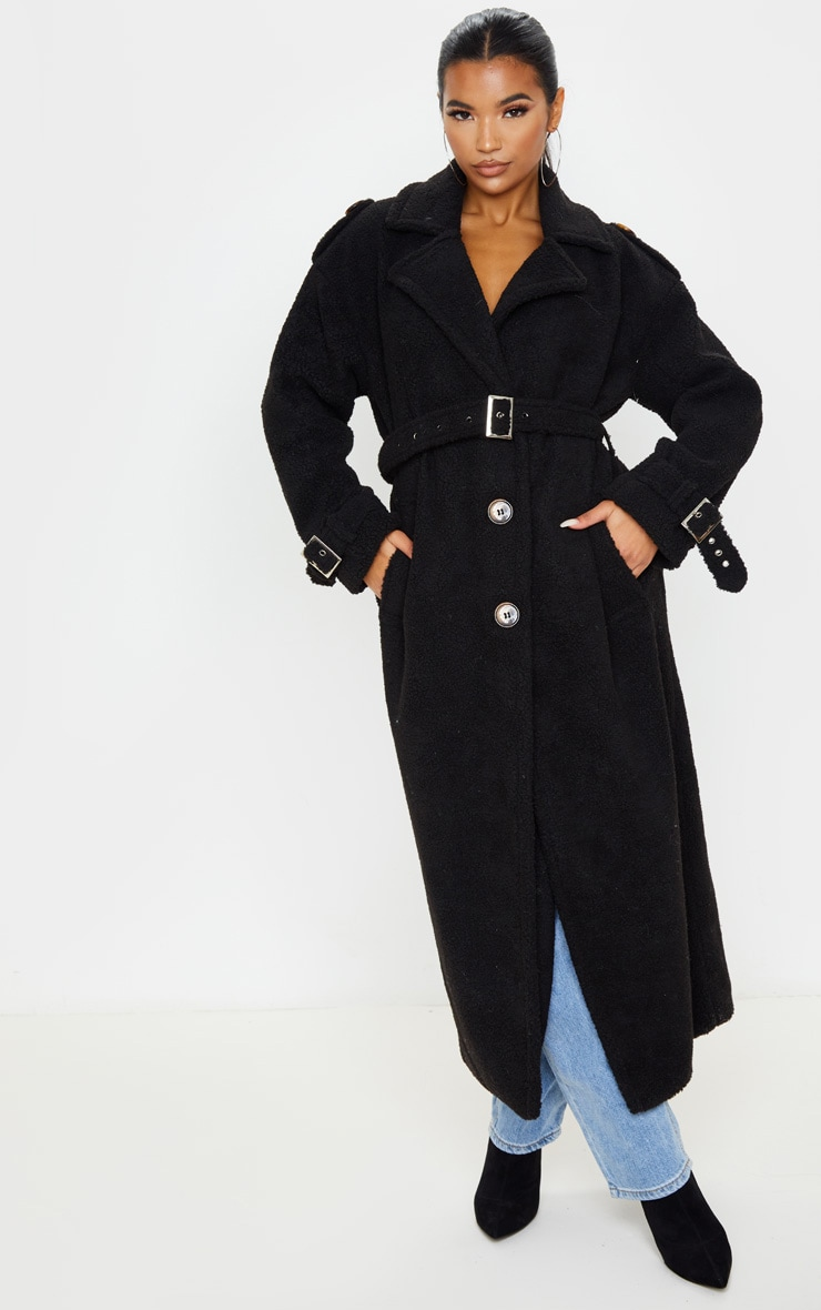 Black Borg Oversized Belted Coat 4