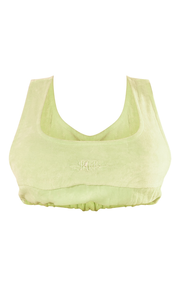 PRETTYLITTLETHING Shape Lime Velour Side Boob Crop Top 5