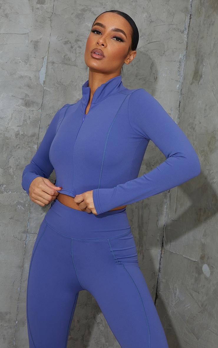 Blue Zip Up Sculpt Luxe Jacket 1