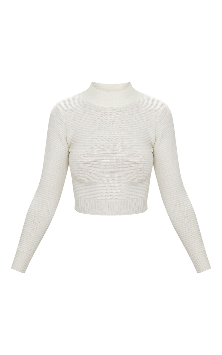 Cream Ribbed Cropped Knitted Sweater  3