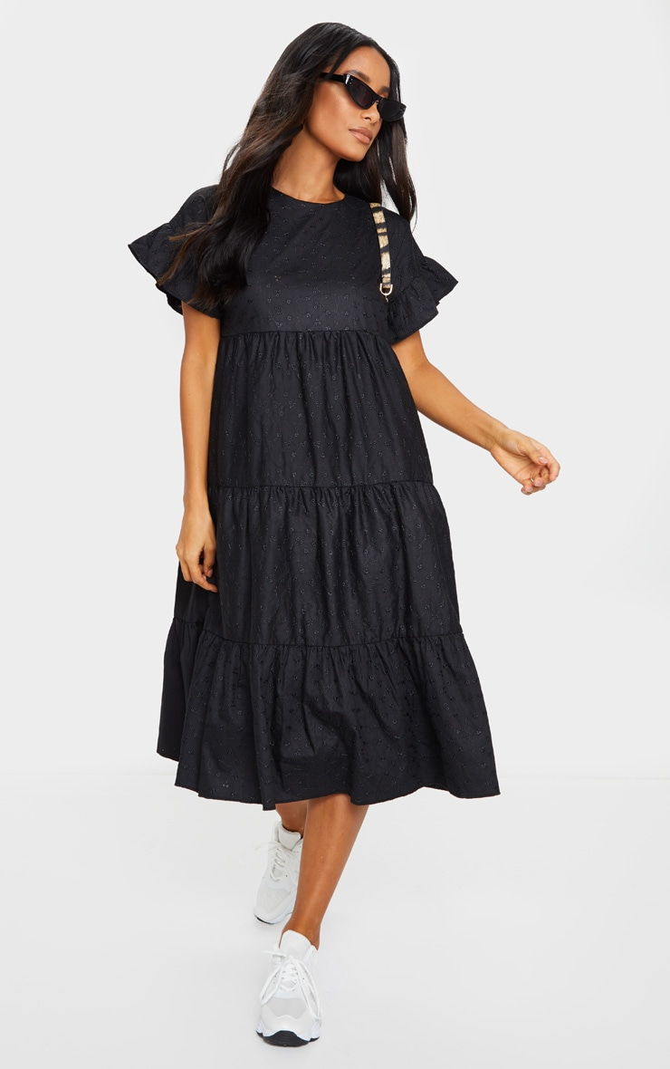 Black Broderie Anglaise Tiered Smock Midi Dress image 1