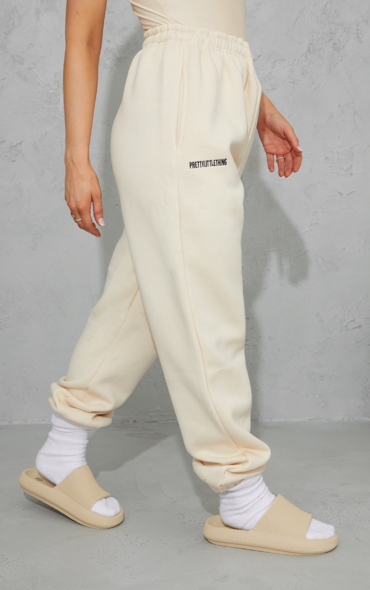 PRETTYLITTLETHING Ecru Block Embroidered Joggers 2