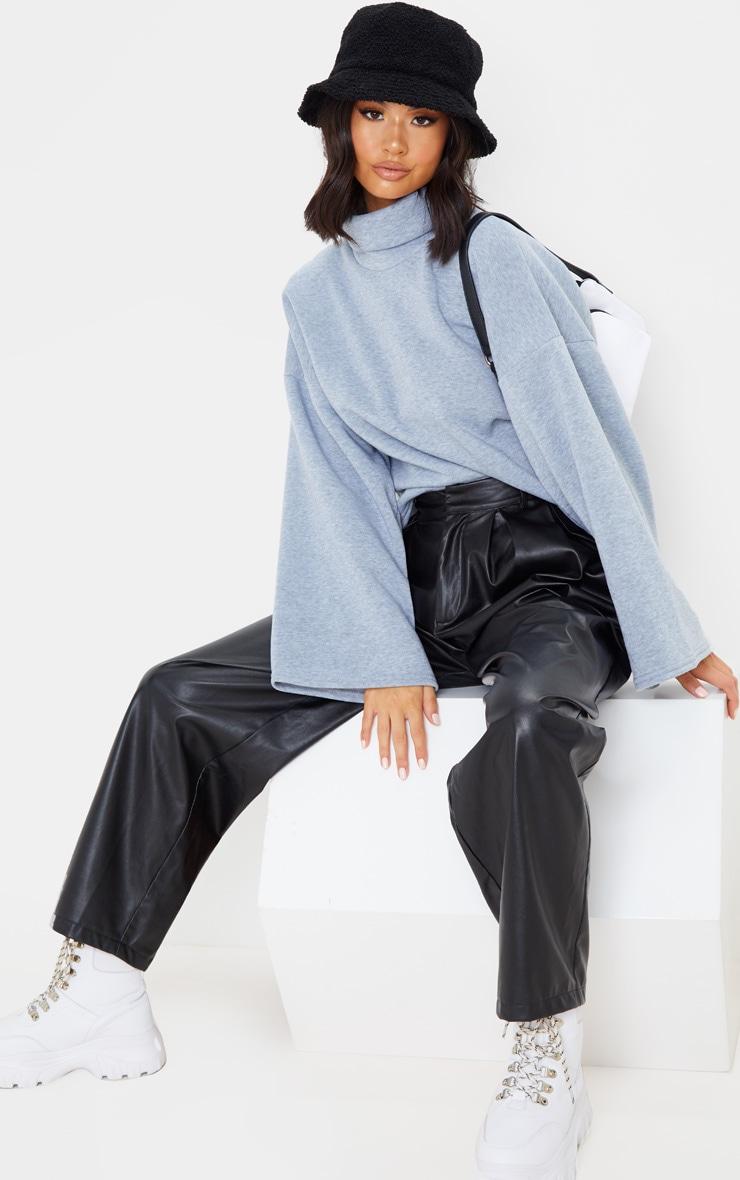 Grey Fleece Roll Neck Sweater 4