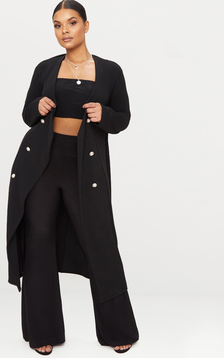 Plus Black Military Button Detail Duster Coat 1