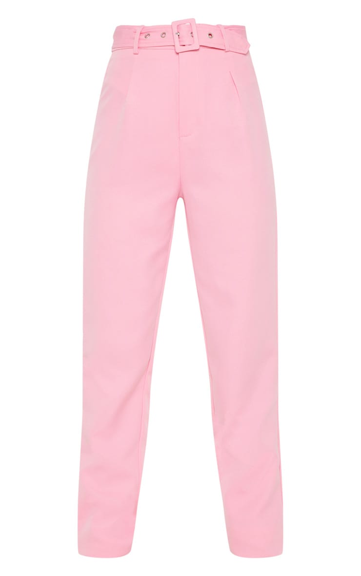 Petite Pink High Waist Belt Detail Straight Leg Trouser 3