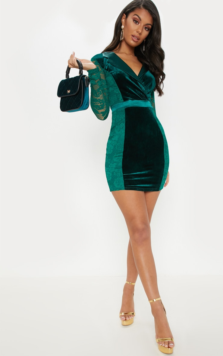 Emerald Green Lace Velvet Blazer Bodycon Dress 4