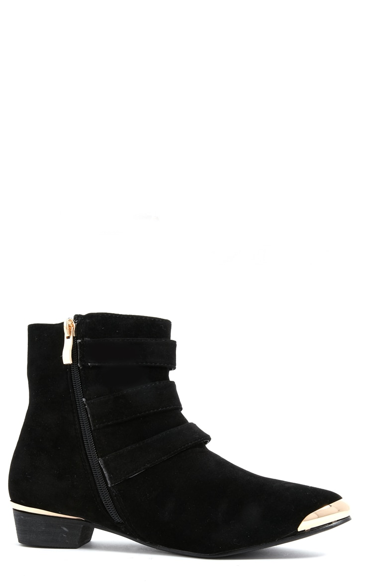 Katerina Black Suede Triple Buckle Ankle Boot 2