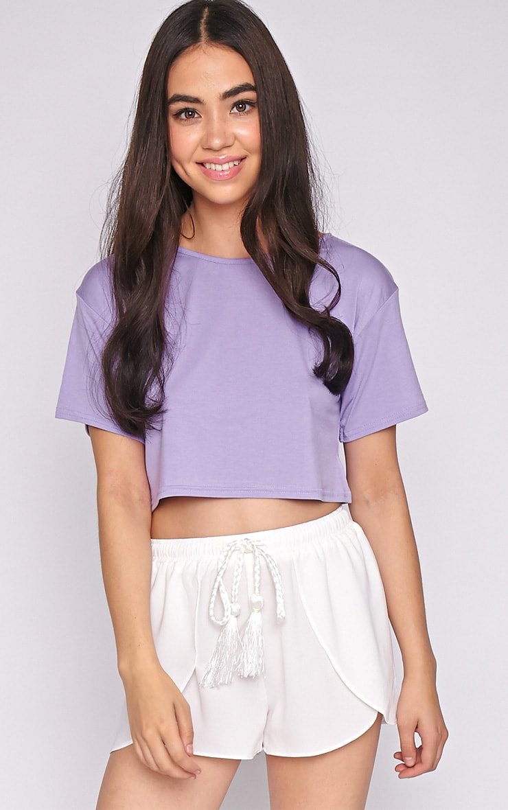 Lucille Lilac Boyfriend Crop Top 1