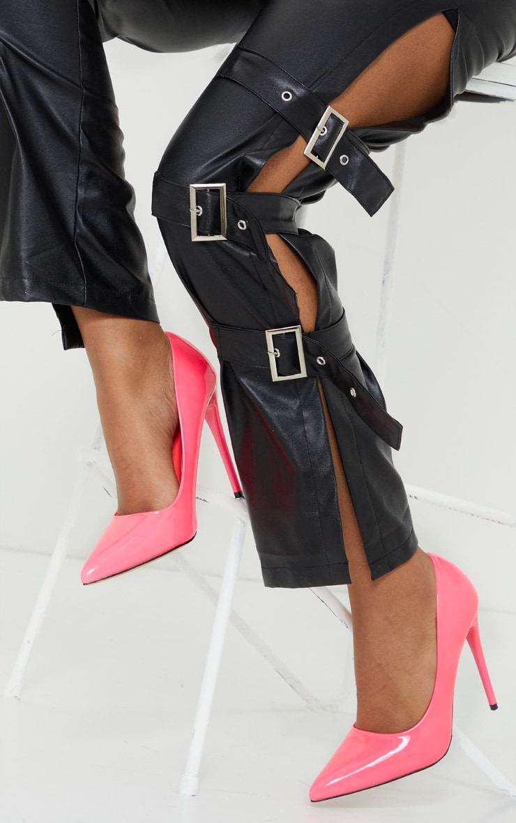 Neon Pink Patent PU High Court Heel Shoes 1