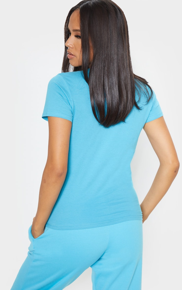 Baby Blue Fitted Short Sleeve T Shirt 2