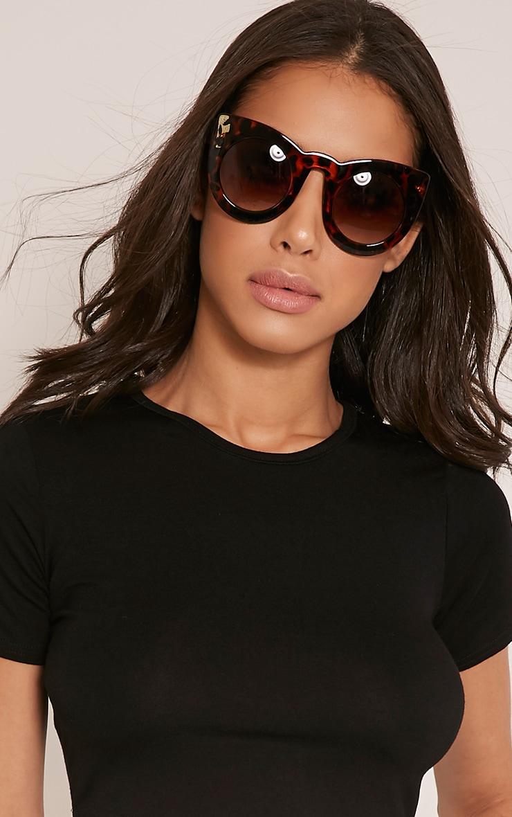 Lila Leopard Print Retro Frame Sunglasses 1