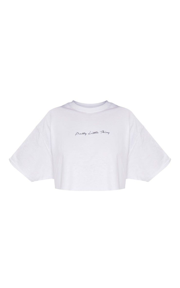 PRETTYLITTLETHING Plus White Slogan Crop T shirt 3