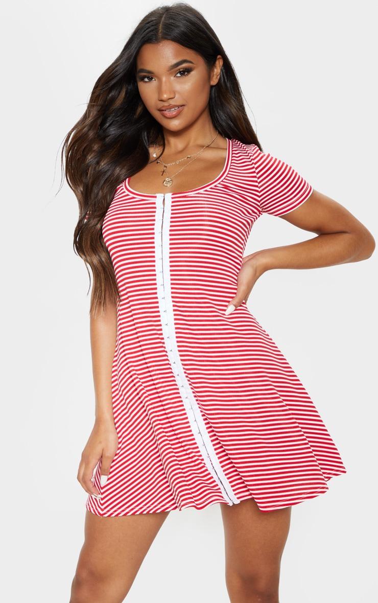 Red Stripe Hook And Eye Swing Dress 1