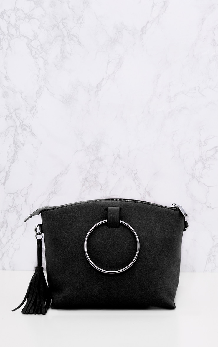 Black Double Ring Handled Textured Bag 2