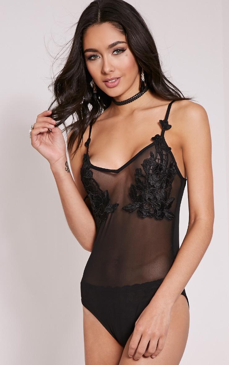 Darcy Black Floral Applique Mesh Bodysuit 4