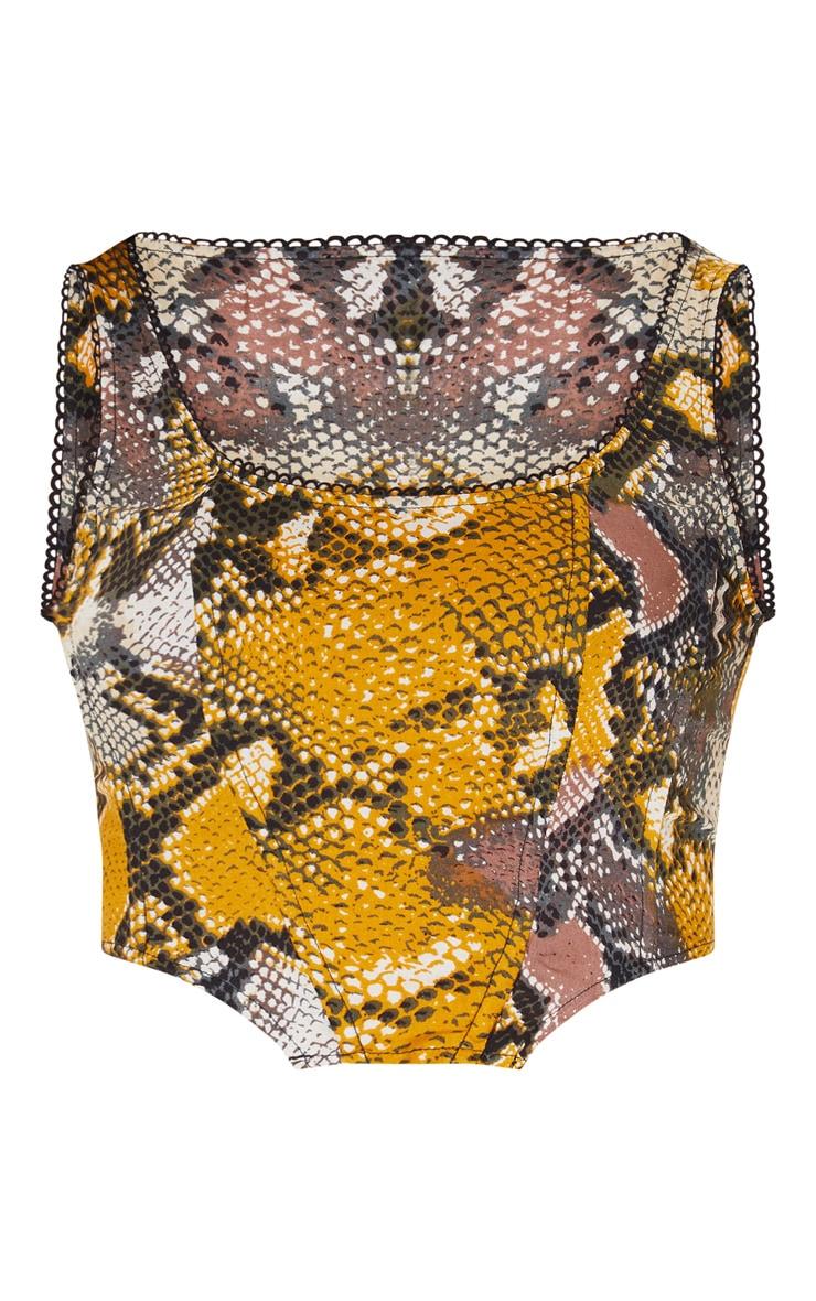 Brown Snake Print Lace Trim Boned Corset Top 3