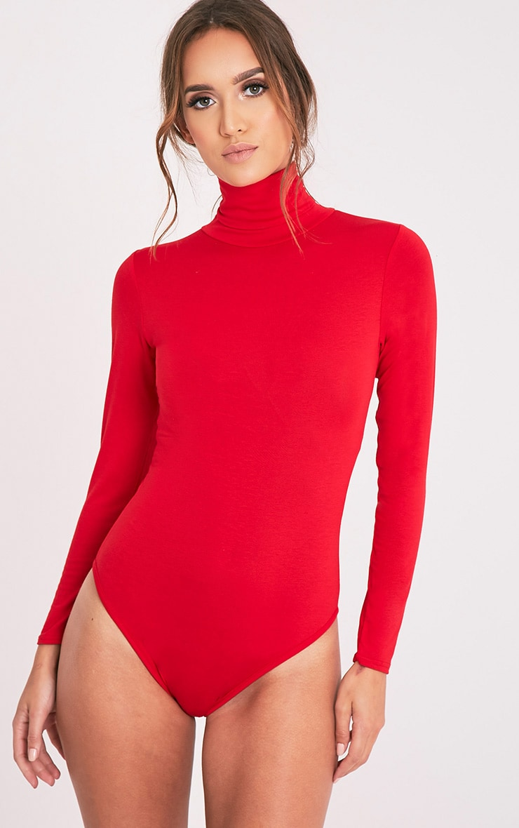 Basic Red Roll Neck Bodysuit 3