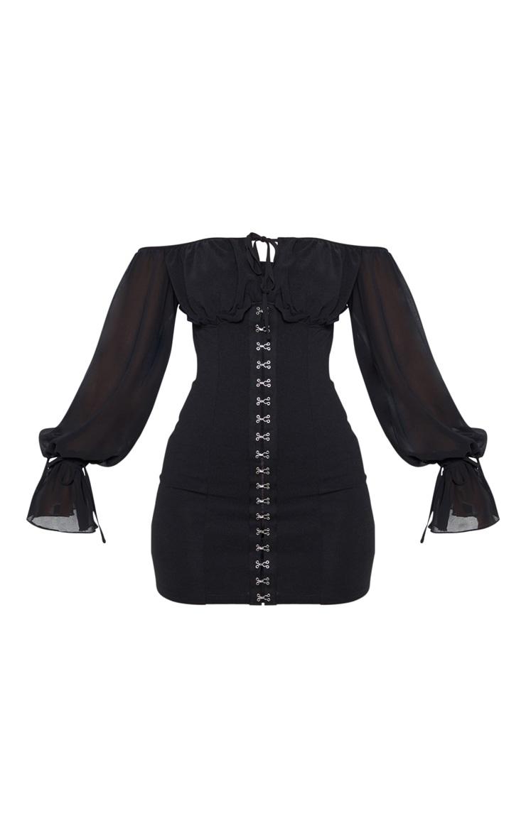 Petite Black Chiffon Sleeve Hook and Eye Bodycon Dress 3