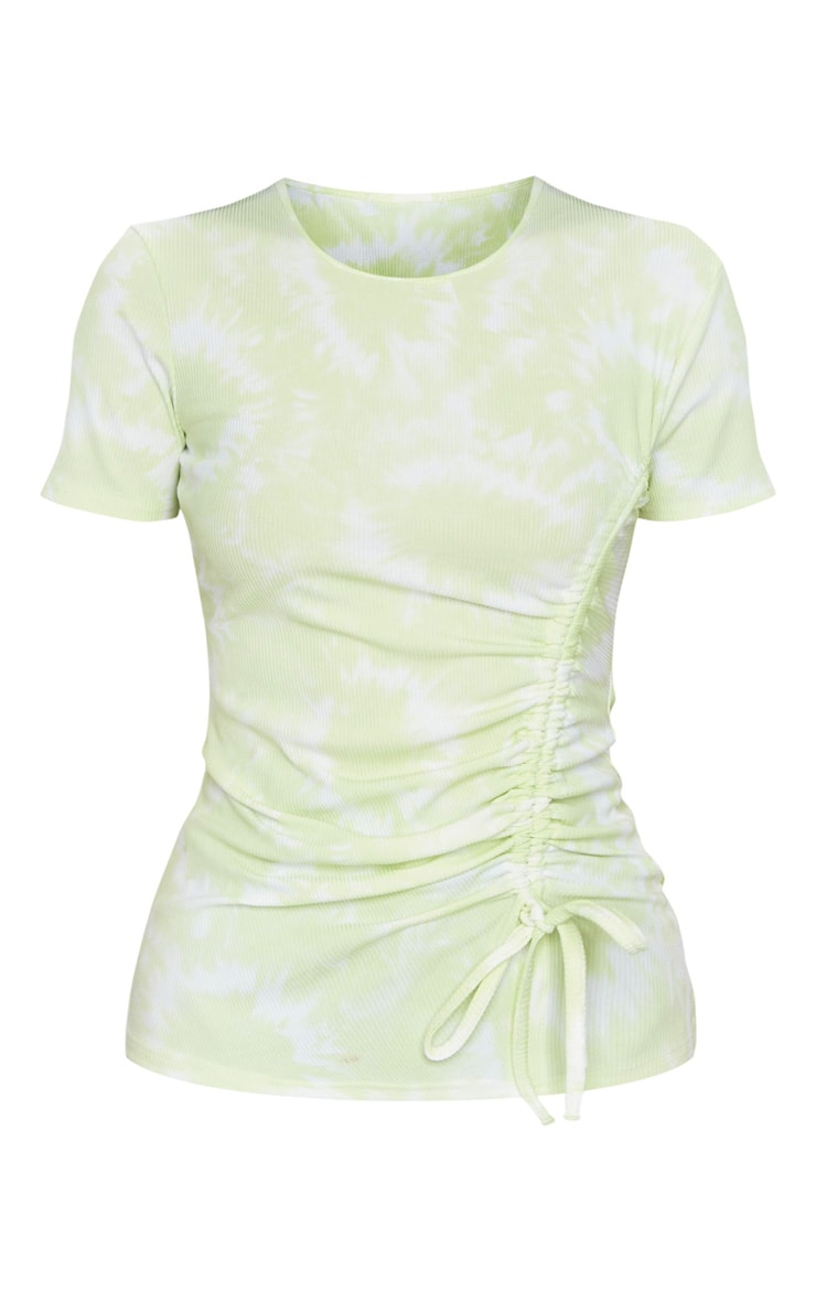 Lime Green Acid Wash Rib Ruched Side T Shirt 5