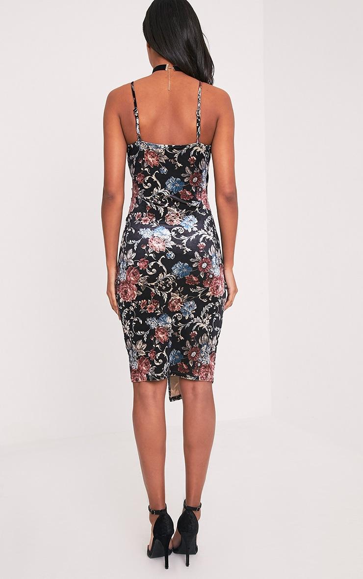 Monah Black Strappy Wrap Floral Velvet Midi Dress 2