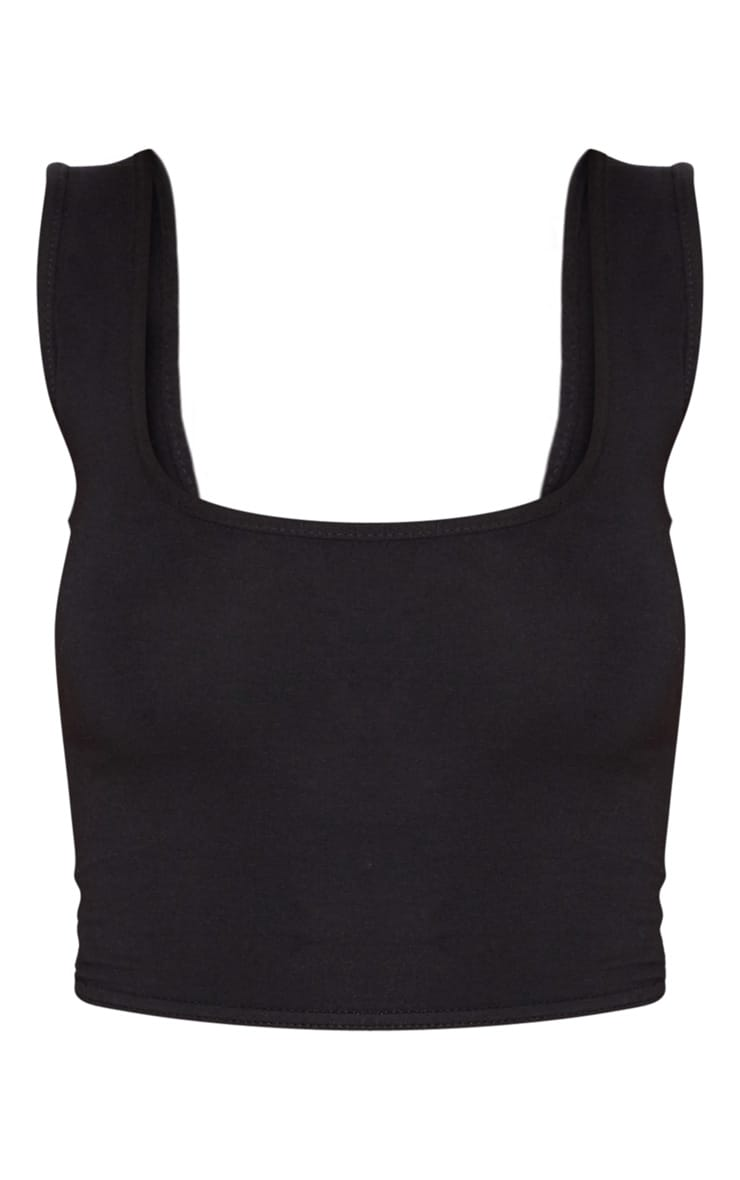 Basic Black Longline Crop Top 3