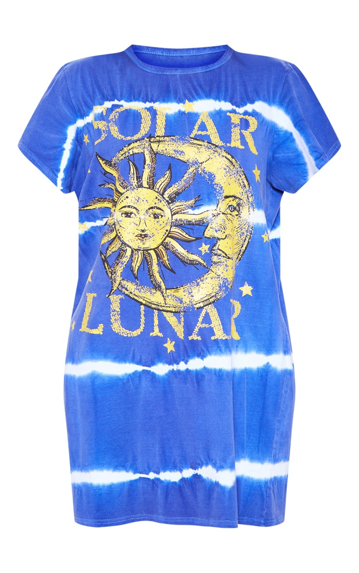 Navy Luna Tie Dye Oversized T Shirt Dress 3
