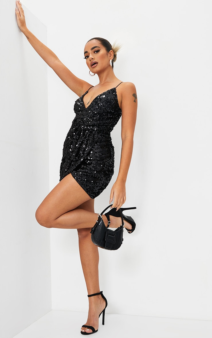 Petite Black Sequin Wrap Front Strappy Bodycon Dress 3