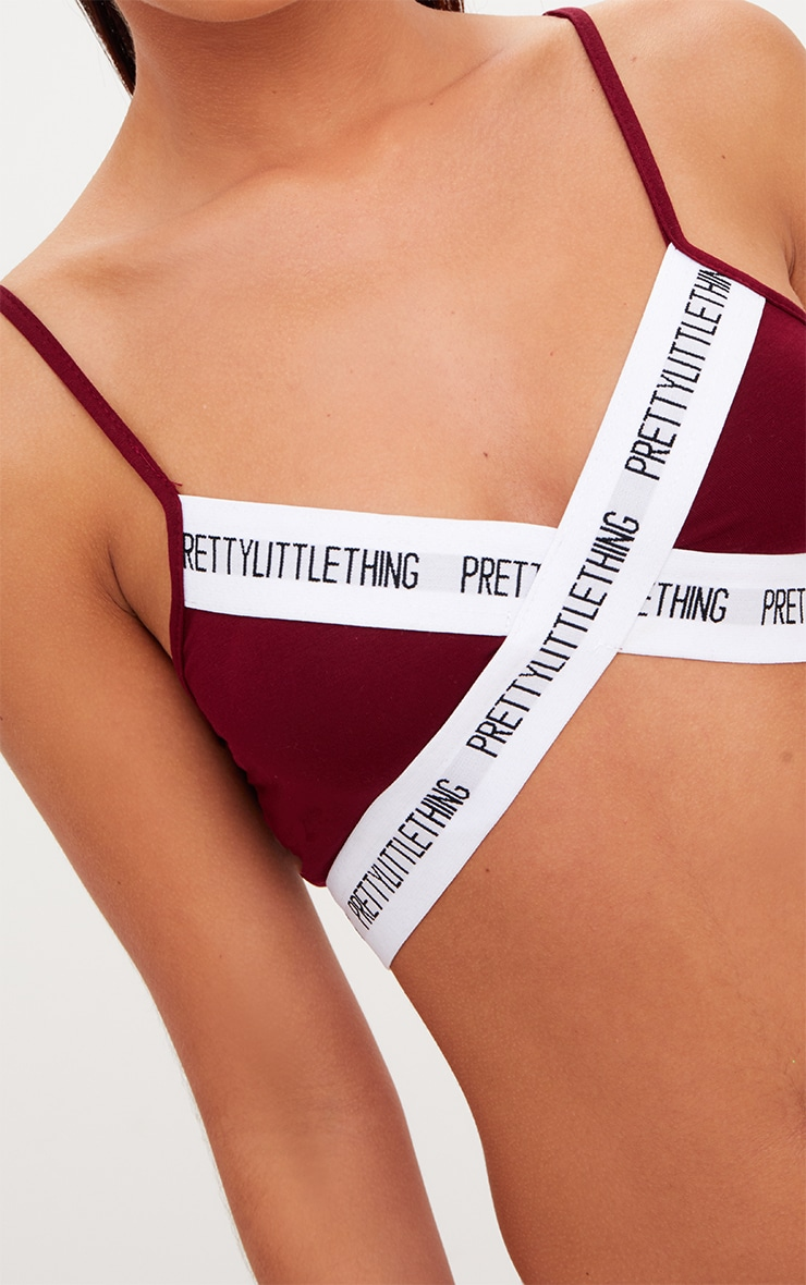 PrettyLittleThing Burgundy Cross Front Strappy Bralet 5