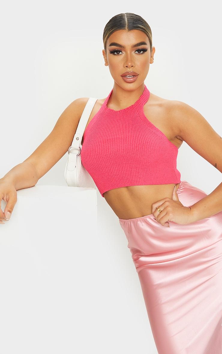 Hot Pink Knit Halterneck Crop Top 1