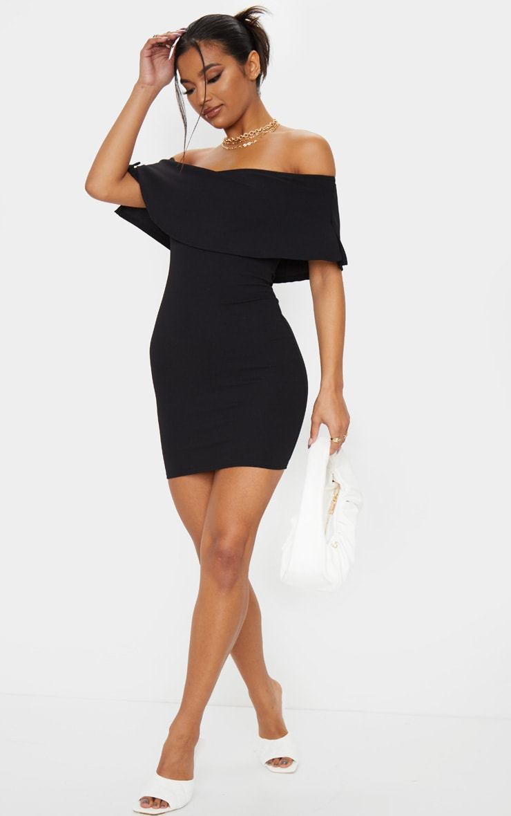 Carley Black Frill Bodycon Dress 4