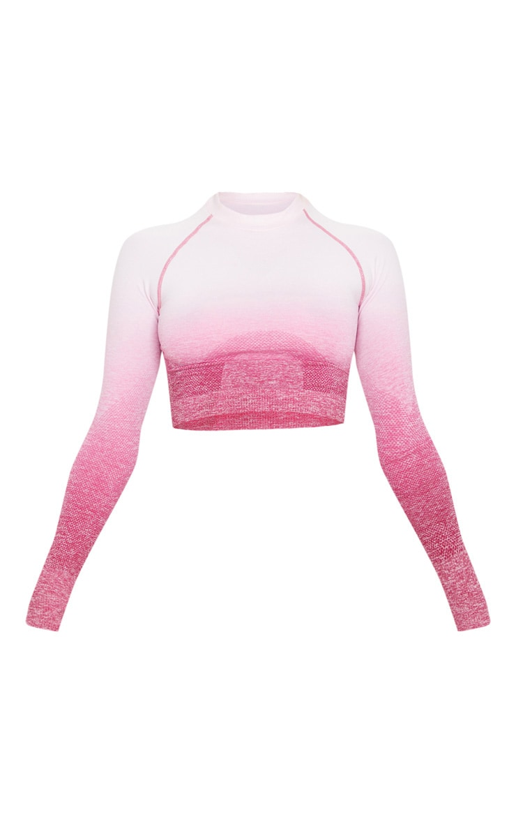 Raspberry Ombre Long Sleeve Seamless Sports Top 3