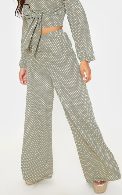 Sage Green Polka Dot High Waisted Wide Leg Trouser