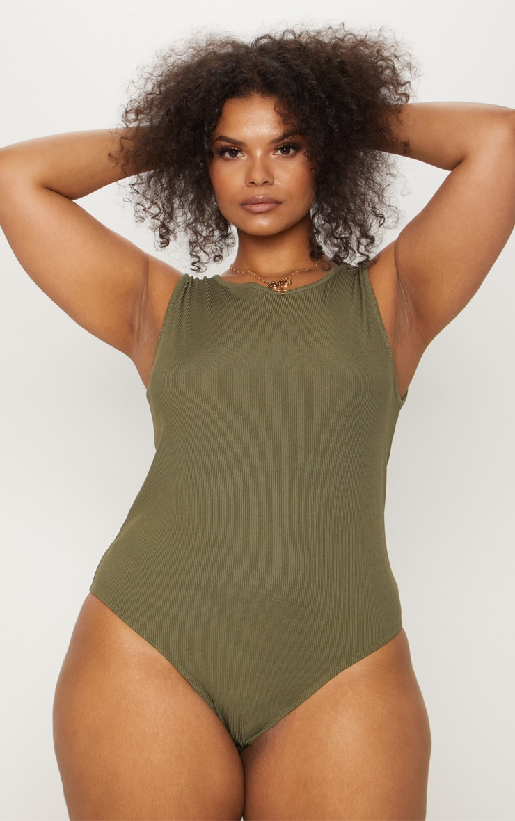 Plus Khaki Ribbed Sleeveless Bodysuit 2
