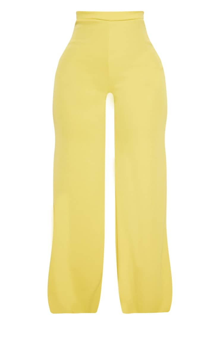 Shape Dark Lime Ribbed Bandage Wide Leg Trousers 3