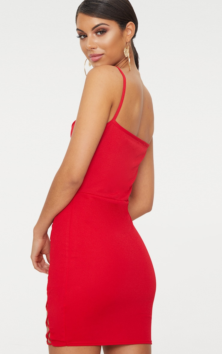 Red Strappy Square Neck Lace Up Thigh Bodycon Dress 2