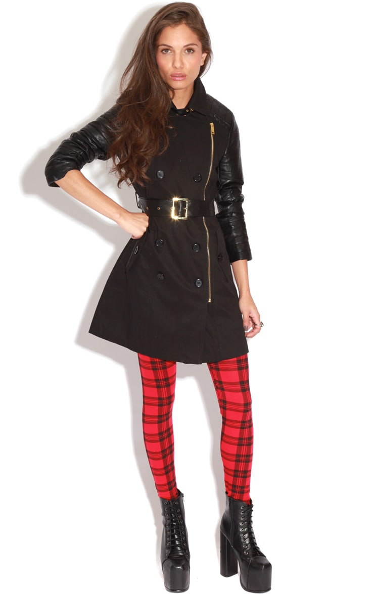 Karishma Black Leather Sleeve Trench Coat  3