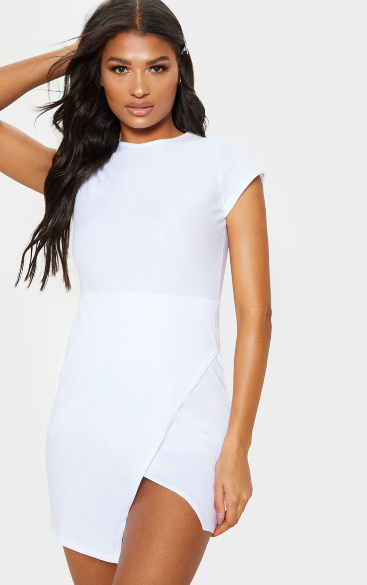 White Wrap Hem T Shirt Dress 1