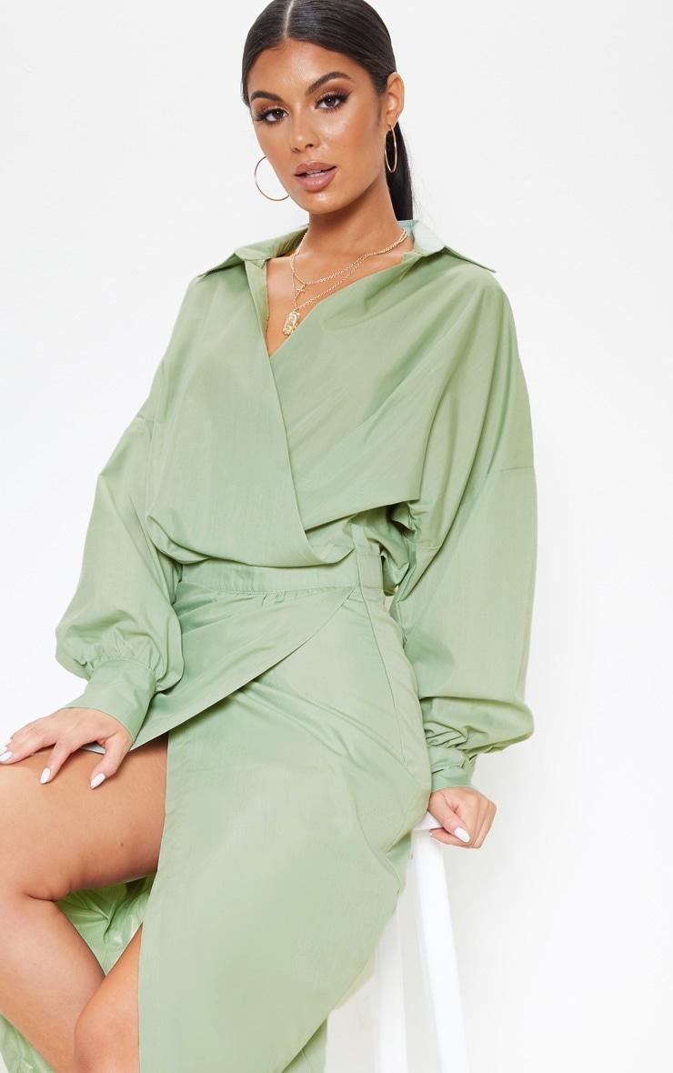 Sage Khaki Midi Shirt Dress 5