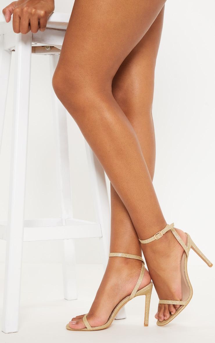 Gold Glitter Single Strap Sandal