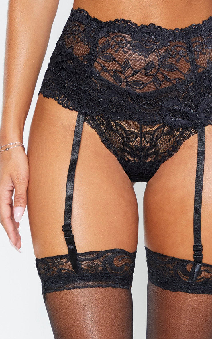 Black Lace Top Sheer Hold Ups 4