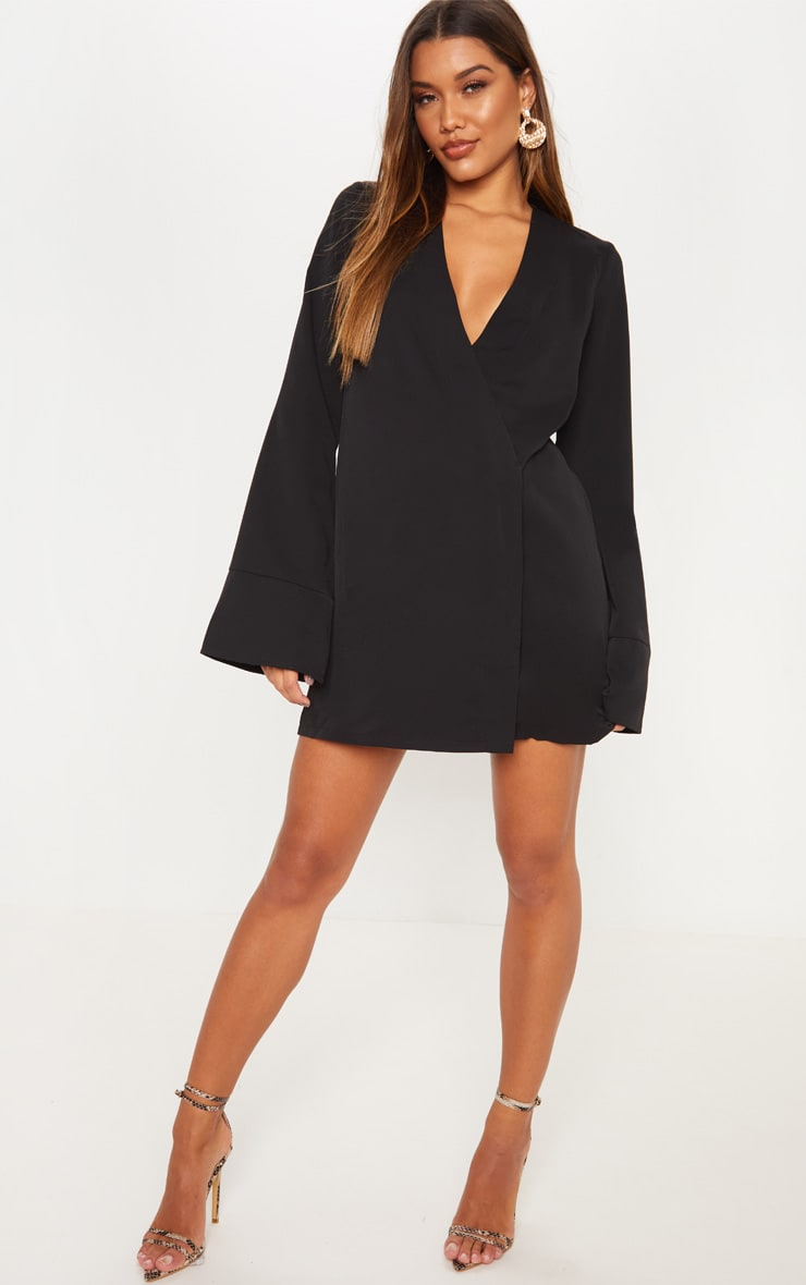 Black Plunge Flare Sleeve Blazer Dress 4