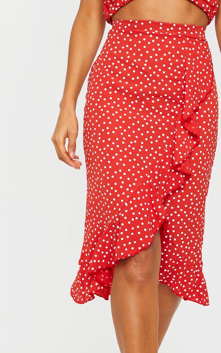 Red Polka Dot Frill Wrap Over Midi Skirt 4