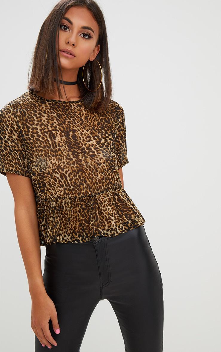 Tan Leopard Print Mesh Frill Sleeve T Shirt 1