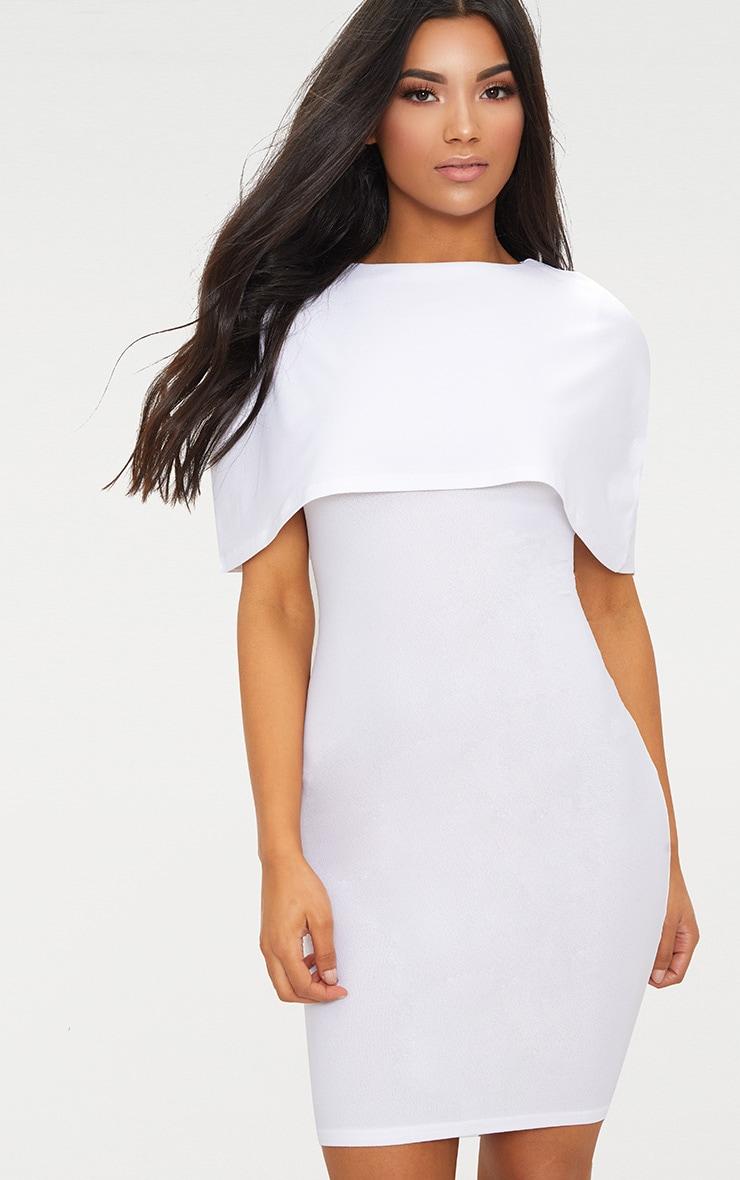 White Cape Detail Midi Dress 1